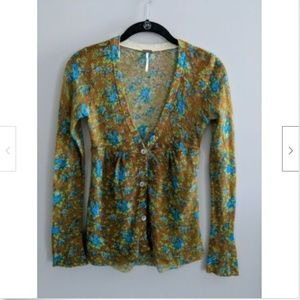 Free People Cardigan Sweater Floral Wool Blend XS